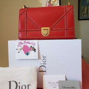 Diorama Christian Dior medium new red leather bag